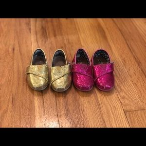 Toms Glitter Pink and Gold Size 5
